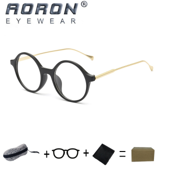 Harga [Buy 1 Get 1 Freebie] AORON High Quality Fashion Retro Anti-allergy Reading Glasses Eyewear Anti-fatigue Computers Eyeglasses 862(Sand Black) - intl