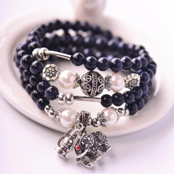 Harga DS 2017 Natural Lucky Women Bohemia Crystal Elephant Bracelets Cute Pendant,Unisex Retro Stretch Bangles Buddhism Beads Bracelet for Gift Jewellery - intl