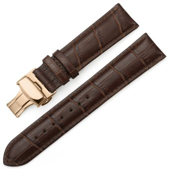 iStrap 19mm Calf Leather Watch Band Strap W/ Rose Gold Steel Push Button Deployment Buckle Brown