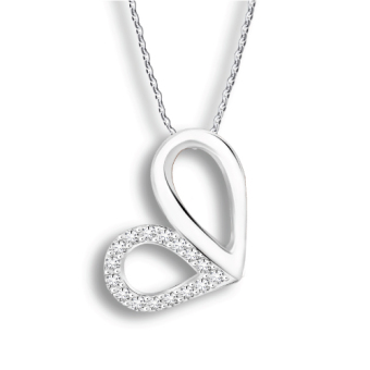 Harga TAKA Jewellery Heart-Shaped Diamond Pendant (9K White Gold)