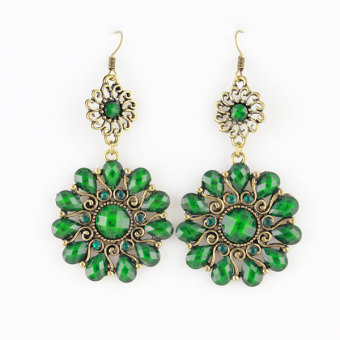 Harga Feelontop Fashion Indian Jewelry Hollow out Flower Brand Earrings with Colorful Gemstone