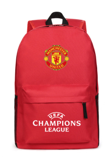 Harga MeYoung Manchester United Football Club and UEFA Champions League Logo Backpack (Red)