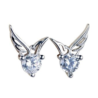 Fashion Women Silver Plated Jewelry Angel Wings Crystal Ear Stud Earrings
