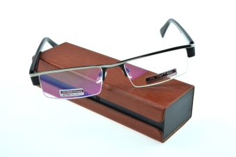 Harga MEN UPPER STYLE PU CASE PRESIDENT PACK READING GLASSES BRILLER FRAME see near book/TV/computer/phone/newspaper +3.0