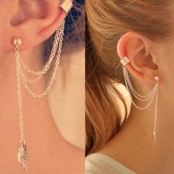 Women Girl Stylish Punk Rock Leaf Chain Tassel Dangle Ear Cuff Wrap Earring Golden