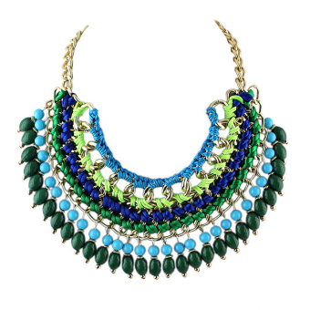 Harga Bohemian Style Multilayers Colorful Beads Statement Collar Necklace