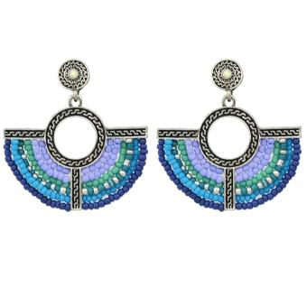 Feelontop Bohemian Style Colorful Beads Fan Shape Dangle Earrings - intl