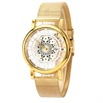 Harga Woman Ladies Phoenix Automatic Mechanical Hollow-out Stainless Steel Wrist Watch Gold
