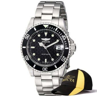 Harga Invicta Pro Diver Men 40mm Case Silver Stainless Steel Strap Black Dial Automatic Watch ILE8926OBA w/ Cap - intl