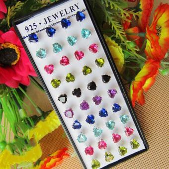 Harga 20 Pair Heart Shape Rhinestone Stud Earrings 6mm Ear Stud for Gift - intl