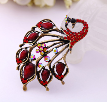 Harga European and American drip oil diamond Peacock brooch