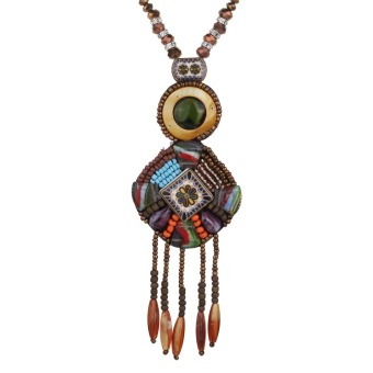 Harga Yazilind Creative Vintage Long Boho Statement Beads Tassel Necklace Trendy Bohemian for Women Accessories Jewelry