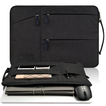 Harga Gearmax(TM) Travellers Multi-functional Nylon Water Resistant with Side Pockets Laptop Handbag for 15.4 Inch Macbook Air Pro / Notebook / Surface / Dell Sleeve Case Cover Bag (15.4 Inch,Black)