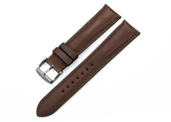 iStrap 20mm Genuine Calf Leather Watch Band Strap Steel Spring Bar Buckle Replacement Clasp Super Soft Dark Brown 20