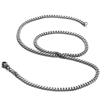 Harga ZUNCLE Men's titanium steel simple retro Necklace (Silver)