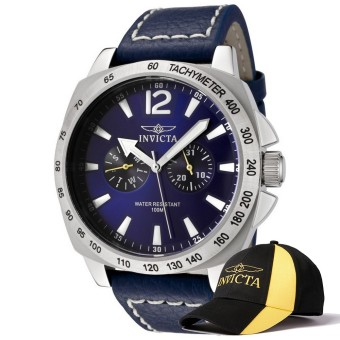 Harga Invicta Specialty Men 44mm Case Blue Leather Strap Blue Dial Quartz Watch 0854 w/ Cap - intl