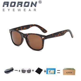 Harga [Buy 1 Get 1 Freebie] AORON Men's The New Fashion Classic Design Sunglasses UV400 Protect Polarized Glasses P2140(Leopard) - intl