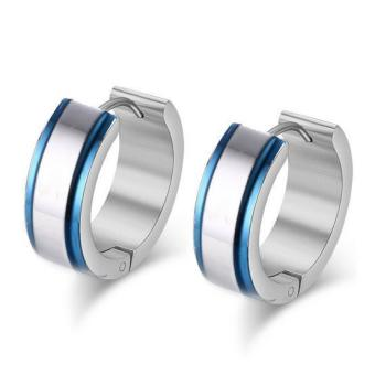Harga European Men's Simple Blue Stainless Steel Stud Earrings - intl