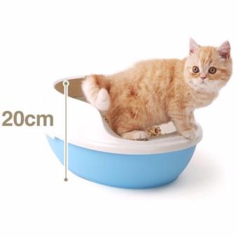 Harga CAT LITTER BOX WITH FOOTBOARD & FREE SCOOP No Sieve Blue