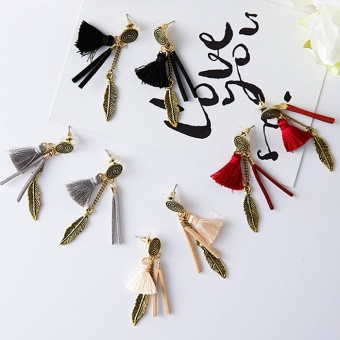 Harga Korea Korean-style Posey Mia style beautiful metal leaves natural feather chain tassel earrings ear acupuncture