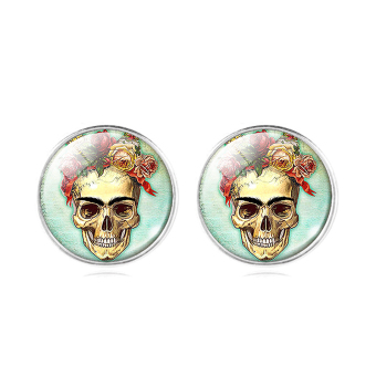 Harga Jiayiqi Skeleton Glass Women's Silver Plated Stud Earrings - intl