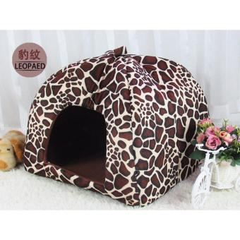 Harga Leopard Print Pet Nest Cat Dog House Bed Kennel Cushion S (Intl) - intl