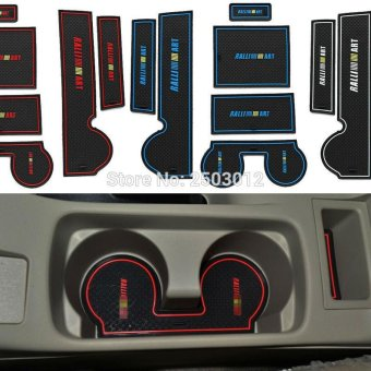 Harga 8Pcs Anti Non Slip With Words In Car stickers Interior Door Groove Cup Gate Slot Mat Pad For Mitsubishi Lancer EX Car-Styling (Color:Blue) - intl