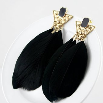 Kayshine Black Feather Big Drop Earrings for Ladies - intl