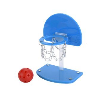 Harga High Quality Pet Birds Chew Toy Parakeet Bell Balls Parrot Toys Birdie Basketball Hoop Props Pet Parrot Toys Brinquedos Product Supplies Blue S - intl