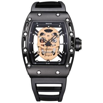 Harga SKONE Brand Pirate Skull Style Quartz men's Watches for Men Military Silicone Strap Sports Wristwatch Waterproof 398701 - intl