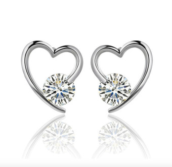 Harga Heart Shape Stud Earrings Diamond Encrusted - intl