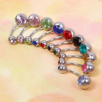 Harga High Quality Store New 10pcs Rhinestone Ball Navel Belly Button Bar Ring Body Jewelry Piercing - intl