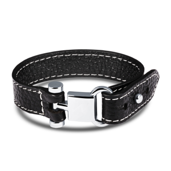 Harga ZUNCLE Men Original Leather Retro Bracelet (Black)