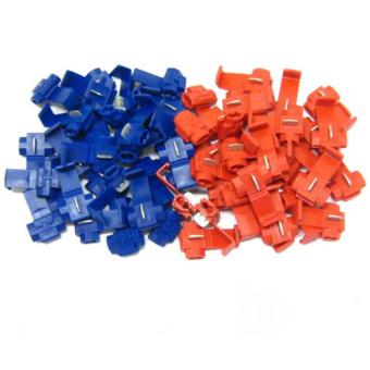 Harga 50Pcs Red Blue Snap On Connector Crimp Wire Splicer Terminal Lock Splice - intl
