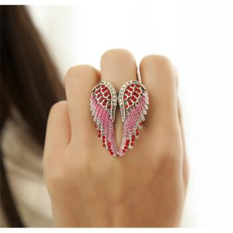 Harga Angle Wing Shaped Red Cubic Zirconia Adjustable Ring for Women - intl