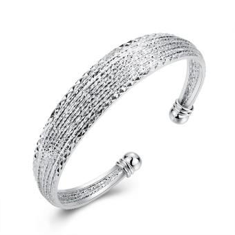Harga B145 SGS Test Past Latest Trendy Classic Silver Plating Bangle - intl