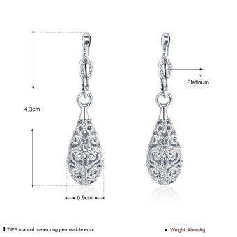 Fashion Luxury Women Water Drop Shape Earrings - Silver - intl