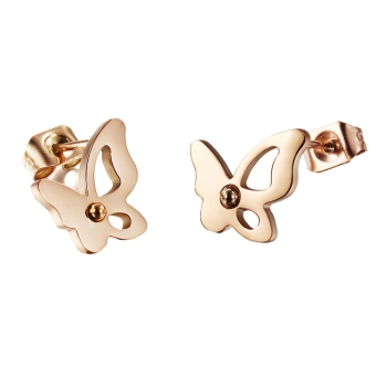 Harga AOXINDA Butterfly Stainless Steel Rose Gold Plated Stud Earrings