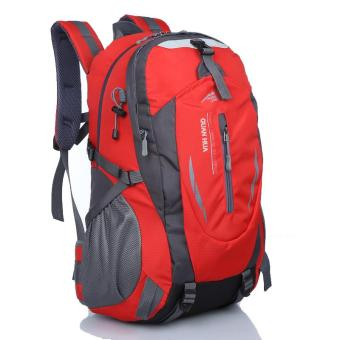 Harga 40L Outdoor Hiking Camping Waterproof Nylon Travel Luggage Rucksack Backpack Bag(red) - intl