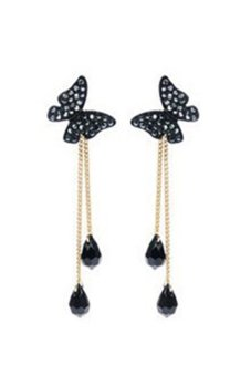 Harga Bluelans Butterfly Tassel Stud Dangle Long Earrings (Black/Silver)