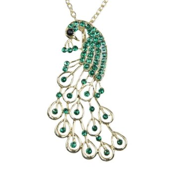 Harga Vintage Green Rhinestones Studded Peacock Pattern Pendant Necklace