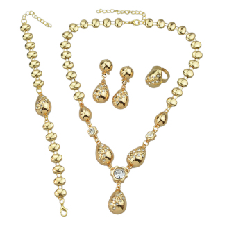 Harga Feelontop Luxuriant Jewelry Sets Gold Plated Carved Water Drop Design Necklace Earring Bracelet and Ring