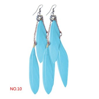 Women Tassel Earrings Feather Drop Dangle Hook Earrings (Lake blue) (EXPORT) - INTL