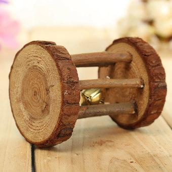 Harga Natural Wood Dumbell Unicycle Bell Roller Chew Toys For Pet Rabbits Hamsters Rat Bark Roller - Intl