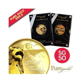 Harga Puregold SG50 Singapore Merlion Birthday Gold Coin 5g.
