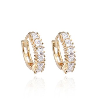 Harga Okdeals Women 18K Gold Plated Crystal Hoop Earrings Zircon Diamond Ear Studs (White)