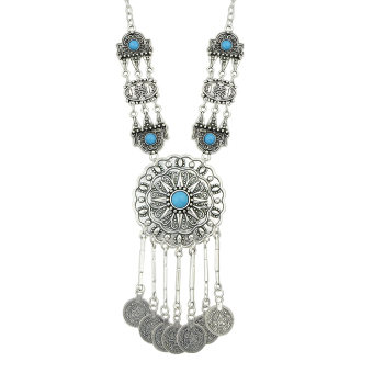 Harga Bohemian Style Antique Silver with Beads Statement Pendant Necklace for Women