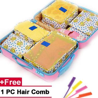 Harga 6PCS/Set Clothes Storage Bags Travel Luggage Organizer Bag (Yellow Smile)