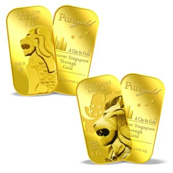 Harga Puregold Singapore Merlion (Pair) RED DOT and MAP Gold Bar 1g x 2