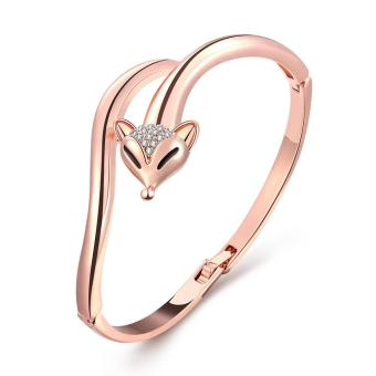 Lovely rose gold plated fox crystal cuff bracelet jewelry bages - intl Price in Singapore
